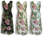 Pale Hibiscus Orchid Sleeveless aloha style tea length dress