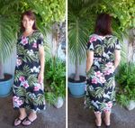 Pale Hibiscus Orchid Womens Round Neck Long Dress
