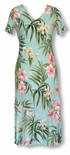 Womens Pale Hibiscus Orchid Tea Length Hawaiian Dress