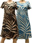 Palm Fronds Capped Sleeve Dress