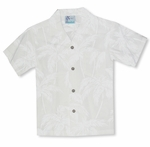 Palm Trees Boys Wedding White Rayon Shirt