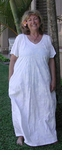 Palm Trees full figure Plus Sizes Long White rayon Dress