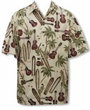 Palm Ukulele Surfboard Men's Go Barefoot Aloha Shirt