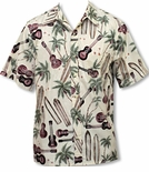 Reversed Print Men's Palm Ukulele Placket Front cotton Shirt