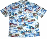 Paradise Found Lighthouse Ocean Hawaiian Aloha Shirt