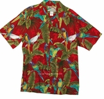 Paradise Found Tree Tops - Parrots Hawaiian Aloha Shirt
