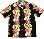 Paradise Found Tropical Fruit & Orchid Panel Hawaiian Aloha Shirt