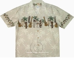 Paradise Found Ukulele Surfboard Chest Band Men's Hawaiian Aloha Shirt
