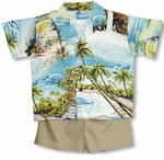 Paradise Island Surf Boys Hawaiian Cabana Set
