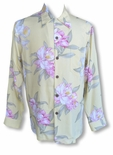 Paradise Orchid Corsage Men's Long Sleeve Rayon Shirt