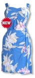 Paradise Orchid Corsage elastic back Hawaiian sarong dress