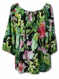 Parakeet in Lush Garden Womens Peasant Blouse
