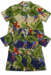 Parrots Monstera Women's Cotton Shirt