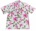 Mens Petra Hibiscus Two Palms Aloha Shirt