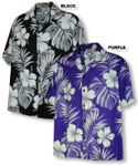 Pictorial Hibiscus Monstera Men's aloha shirt