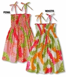 Pikake Flower Lei Small & Young Girl's 100% Cotton Spaghetti Strap Hawaiian Sundress