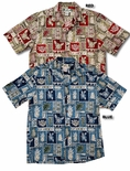 Pineapple Block by Two Palms men's cotton aloha shirt