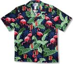 Pink Flamingo Heliconia Vintage Style Shirt 100% Cotton