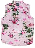 Pink Flamingo Hibiscus Sleeveless Blouse