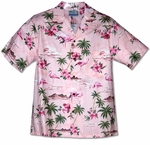 Pink Flamingo Hibiscus men's cotton aloha shirt