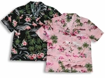 Pink Flamingo Hibiscus Women's cotton camp shirt