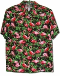 Pink Flamingos Galore mens rayon aloha shirt