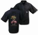Pink Flamingo Men's Weekender Embroidered Shirt