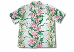 Pink Hibiscus Panel Men's Shirt