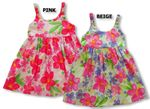 Watercolor Hibiscus Bungee Strap Cotton girl's dress