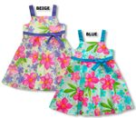Watercolor Hibiscus Girl's Empire Bow Dress