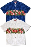 Pink red hibiscus chest band men's cotton aloha shirt