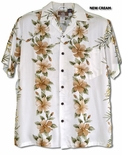 Pink White Hibiscus Panel men's Hawaiian style shirt