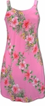 Pink, White Hibiscus Plumeria Panel zipper back, bias cut floral dress