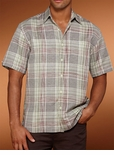 CLOSEOUT Reseda Plaid Cubavera men's ramie rayon shirt