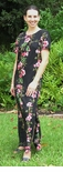 Plumeria Bamboo Panel column print Long tank dress