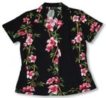 Plumeria Bamboo Panel Womens Fitted Blouse