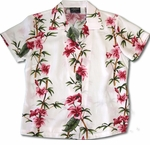 CLOSEOUT Plumeria Bamboo Panel Womens Shirt