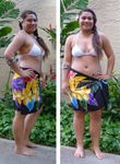 Rainbow Garden Hand Painted Half Size Rayon Sarong Bathing Suit Cover Up