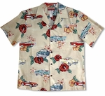 Plumeria Hibiscus Automobile men's aloha Shirt