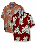 Plumeria Hibiscus Feather Fern Men's Shirt