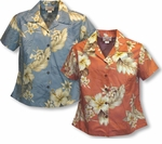 Plumeria Hibiscus Feather Fern women's fitted blouse