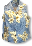 Plumeria Hibiscus Feather Fern Women's Sleeveless Shirt