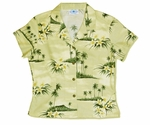 CLOSEOUT Plumeria Island Cropped Fitted Cotton Aloha Blouse - XL Khaki Only