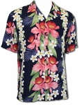 Plumeria Orchid Panel men's Hawaiian shirt