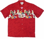 Vintage Sold Out / Chest Band martini, dice, poker, hula girls men's Hawaiian shirt