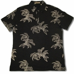 Polo Style Shirt  //  Men's Havanera Orchid Leaf 100% Cotton Jersey Knit