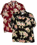 Polynesian Bouquet Orchids, Hibiscus, Plumeria aloha shirt