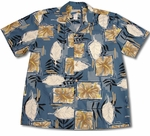 Pua Blocks Waimea Casuals Men's Cotton Aloha Shirt