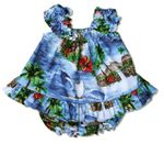 CLOSEOUT red hibiscus island girl's puff sleeve 2pc set