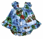 Red hibiscus island girl's puff sleeve made in Hawaii 2pc set